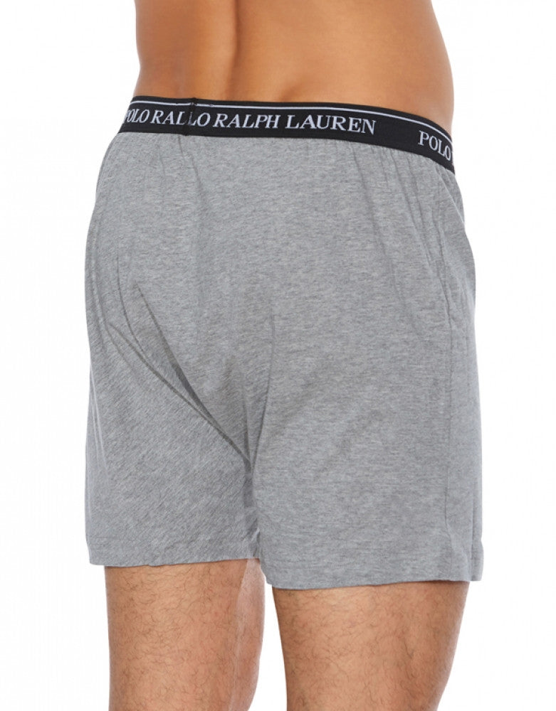 Black/Grey/Charcoal Back Polo Ralph Lauren 3-Pack Classic Cotton Knit Boxer Shorts