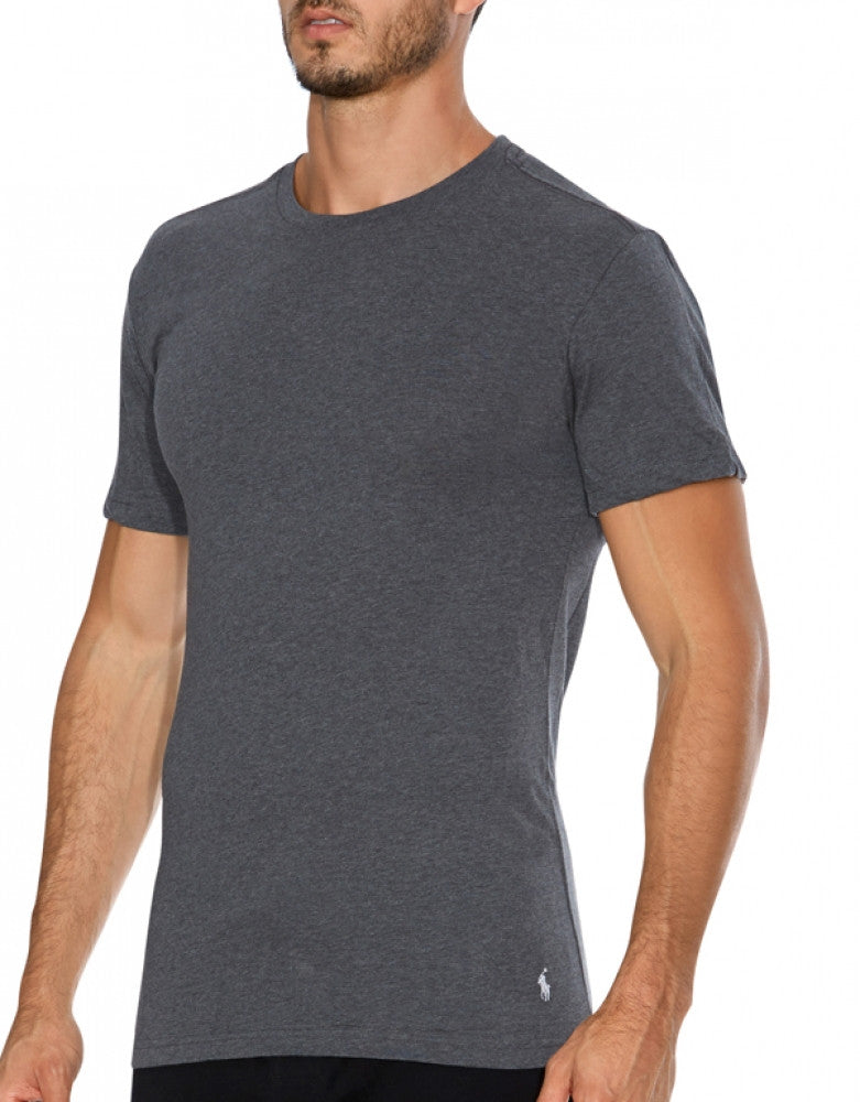 Black/Grey/Charcoal Front Polo Ralph Lauren 3-Pack Slim Fit Cotton Crew Neck T-Shirts