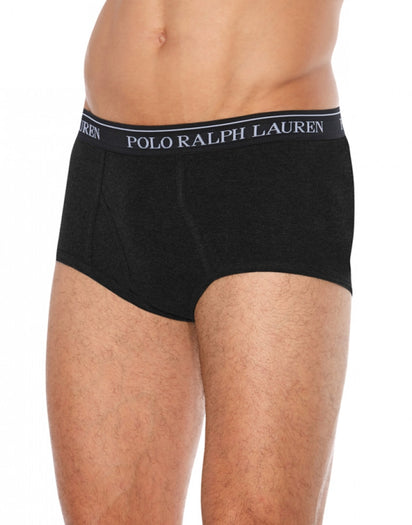 Black/Grey/Charcoal Front Polo Ralph Lauren 4-Pack Classic Cotton Mid-Rise Briefs