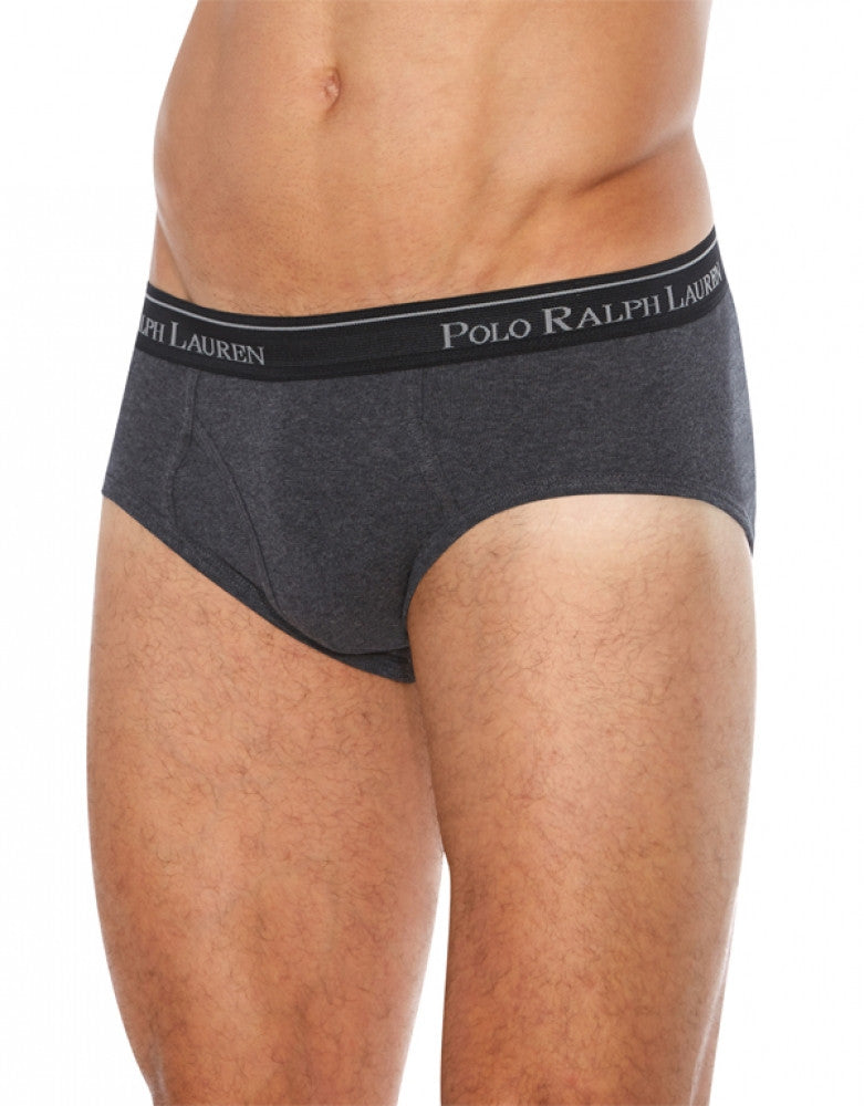 Black/Grey/Charcoal Front Polo Ralph Lauren 4-Pack Classic Cotton Low-Rise Briefs