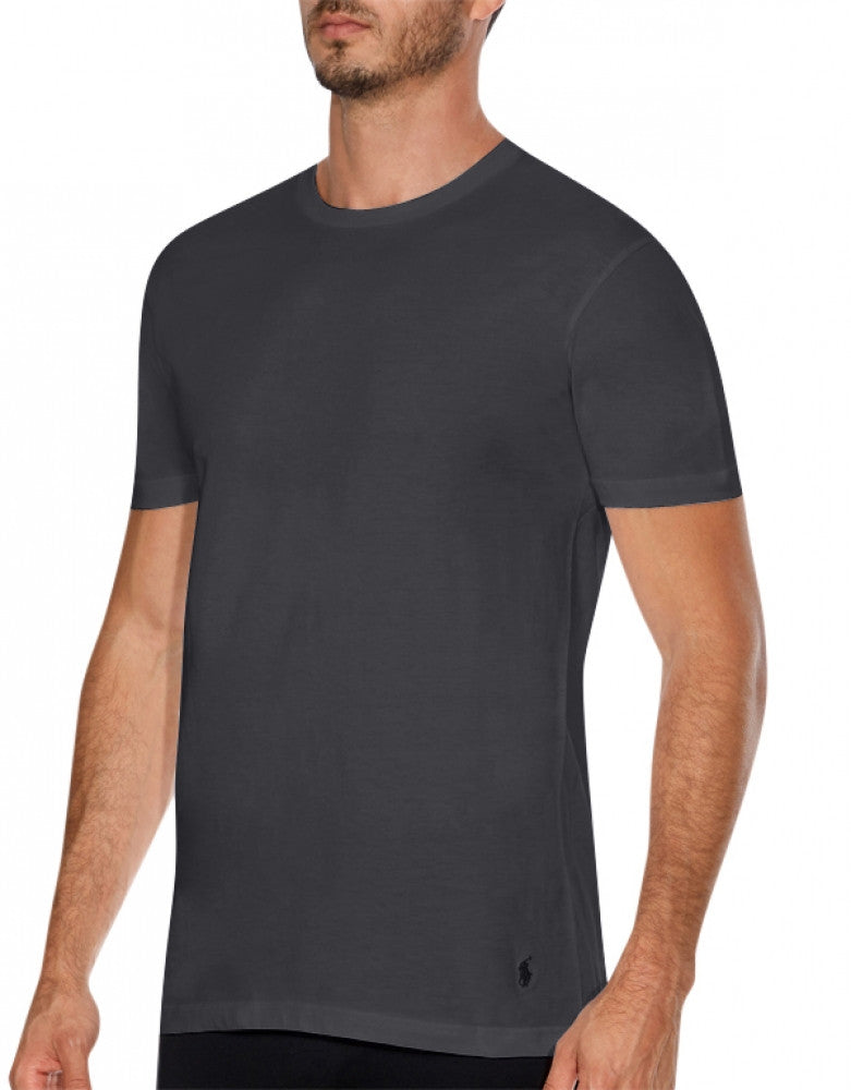 Black/Grey/Charcoal Front Polo Ralph Lauren 3-Pack Classic Cotton Crew Neck T-Shirts