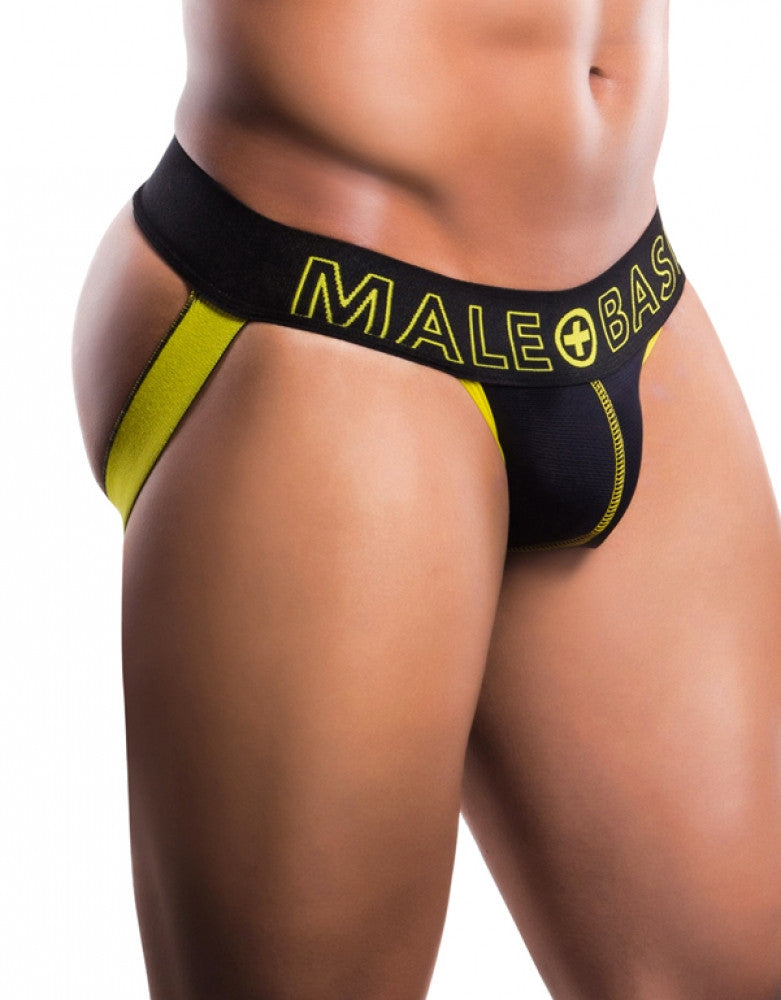 Black/Yellow Front Malebasics Men's Neon Jockstrap MBN04