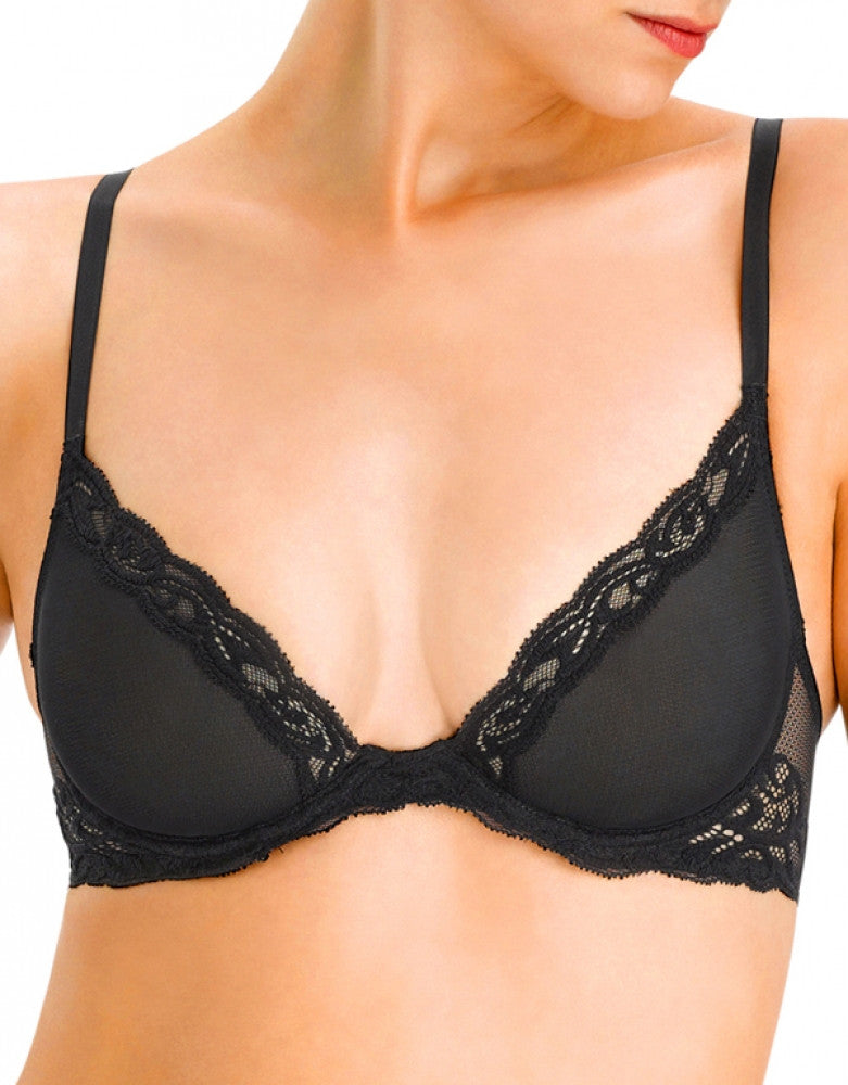 Black Front Natori Feathers Sheer Plunge Bra