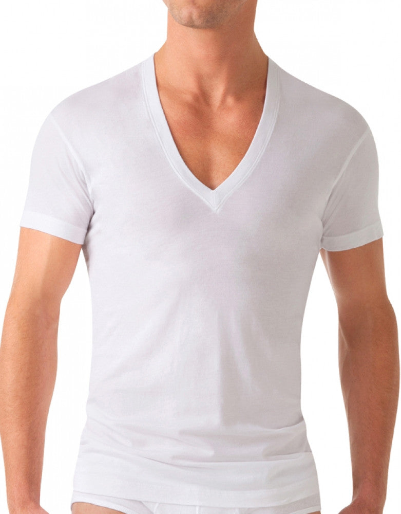 White Front 2xist Pima Slim Fit Deep V-Neck T-Shirt