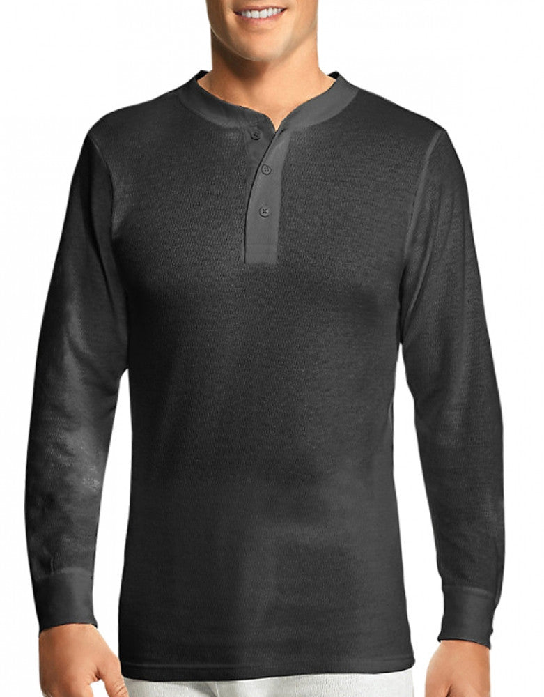Black Front Hanes X-Temp Thermal Henley