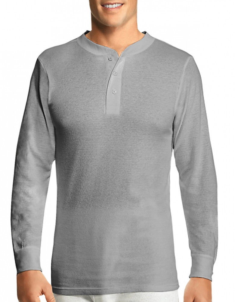 Heather Grey Front Hanes X-Temp Thermal Henley