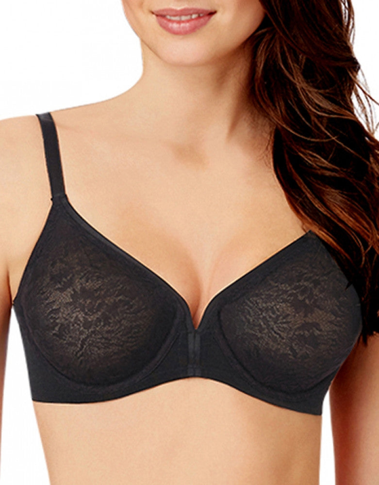Black Front Le Mystere Whisper Lace Molded Underwire Bra