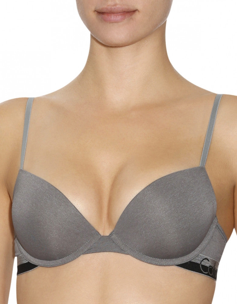 Steel Grey Heather Front Calvin Klein Magnetic Force Push-Up Bra
