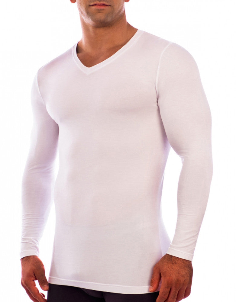 White Front Obviously Essence V-Neck Long Sleeve T-Shirt