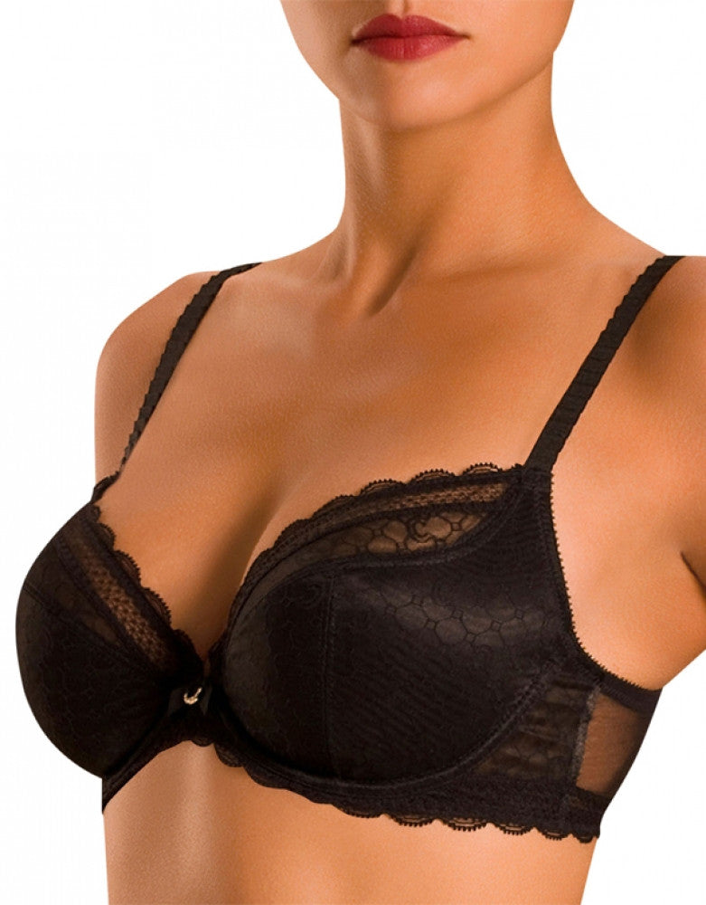 Black Side Chantelle Chic Sexy Underwire Plunge 3-Part Cup Bra
