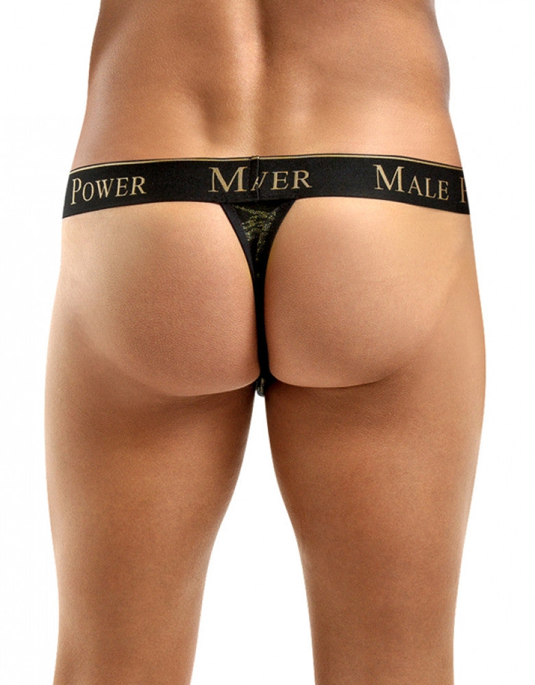 Black/Gold Back Male Power Enrichment Thong