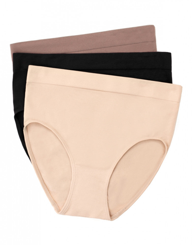 Nude/Cappuccino/Black Front Wacoal 3-Pack B.Smooth Full Briefs