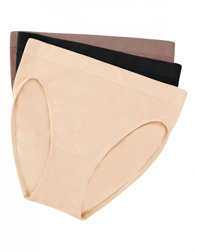 Nude/Cappuccino/Black Front Wacoal 3-Pack B.Smooth Hi-Cut Briefs
