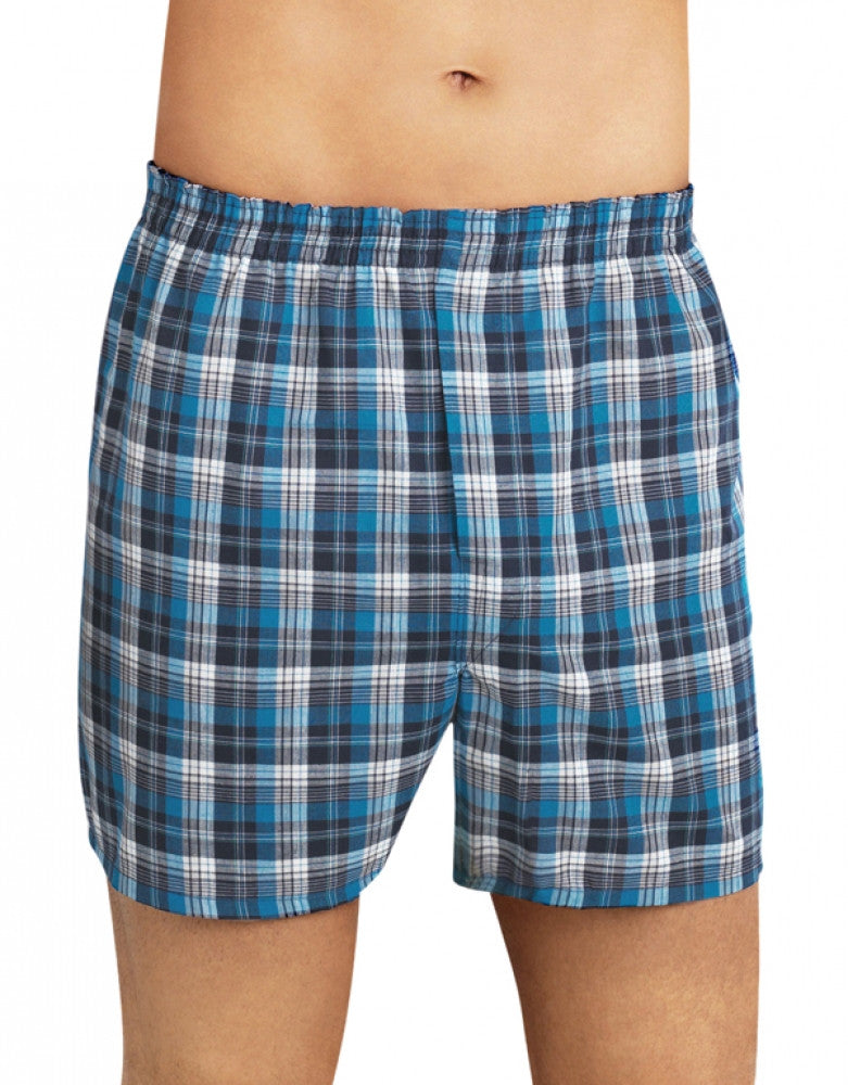 Tartan Asst Front Fruit of the Loom 4-Pack Premium Tartan Boxer Shorts
