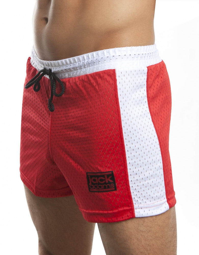 Red/White Front Jack Adams Air Mesh Gym Short