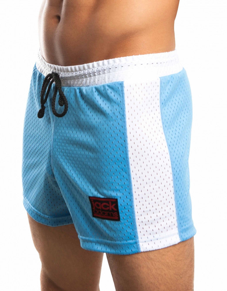 Blue/White Front Jack Adams Air Mesh Gym Short