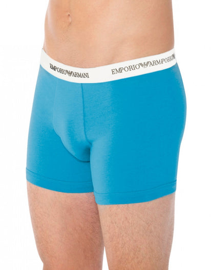 Marine/Turquoise Front Emporio Armani 2-Pack Stretch Cotton Boxer Briefs