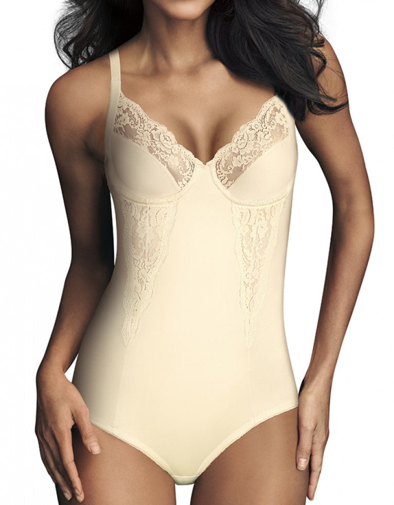 Buttercream Front Maidenform Lace Body Briefer with Underwire Cups