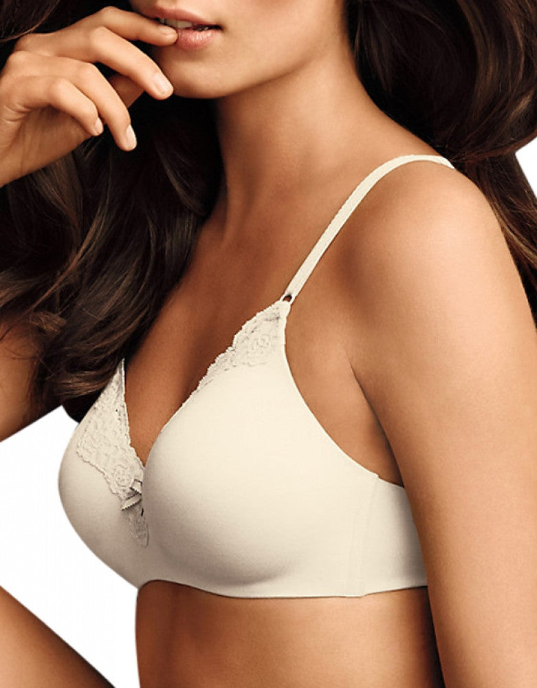 Ivory Shell Combo Front Maidenform Comfort Devotion Wirefree Lifting Demi Bra 09456
