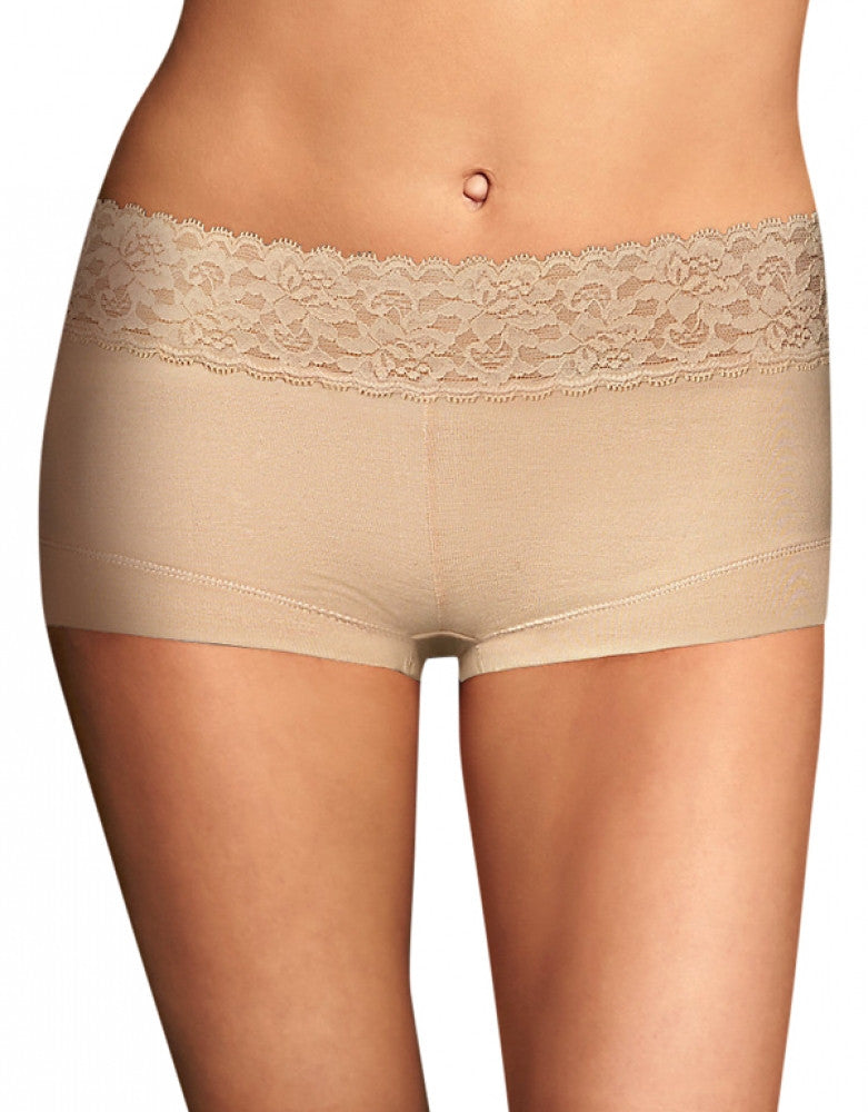 Latte Lift Front Maidenform Cotton Dream Lace Boyshort