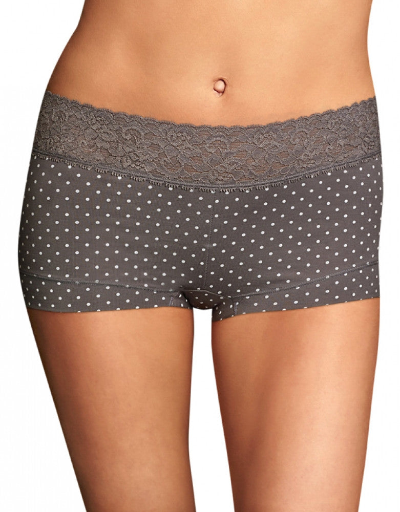 Steel Grey Dot Front Maidenform Cotton Dream Lace Boyshort