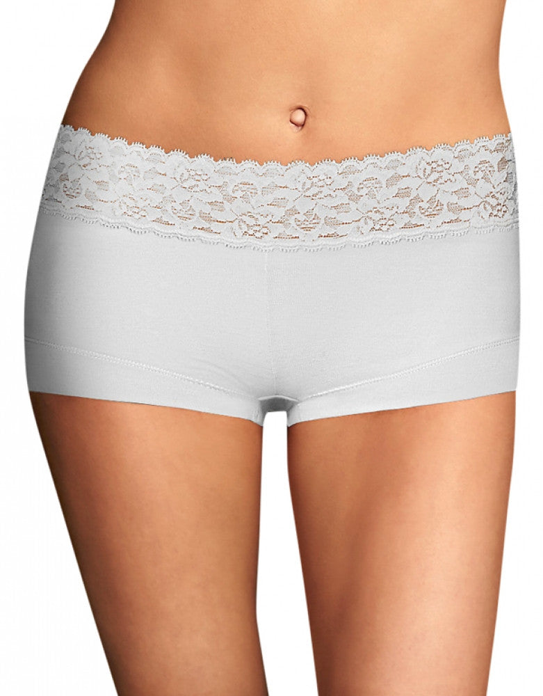 White Front Maidenform Cotton Dream Lace Boyshort