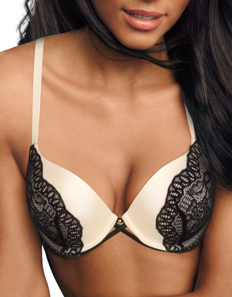 Ivory/Black Lace Front Maidenform Maidenform Love the Lift Custom Lift Extra Coverage Push-Up Bra