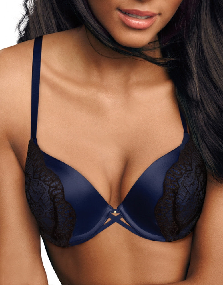 Navy/Black Lace Front Maidenform Maidenform Love the Lift Custom Lift Extra Coverage Push-Up Bra