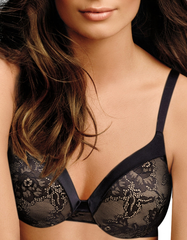 Black Body Beige Lining Front Maidenform Comfort Devotion Embellished Extra Coverage T-Shirt Bra 09437