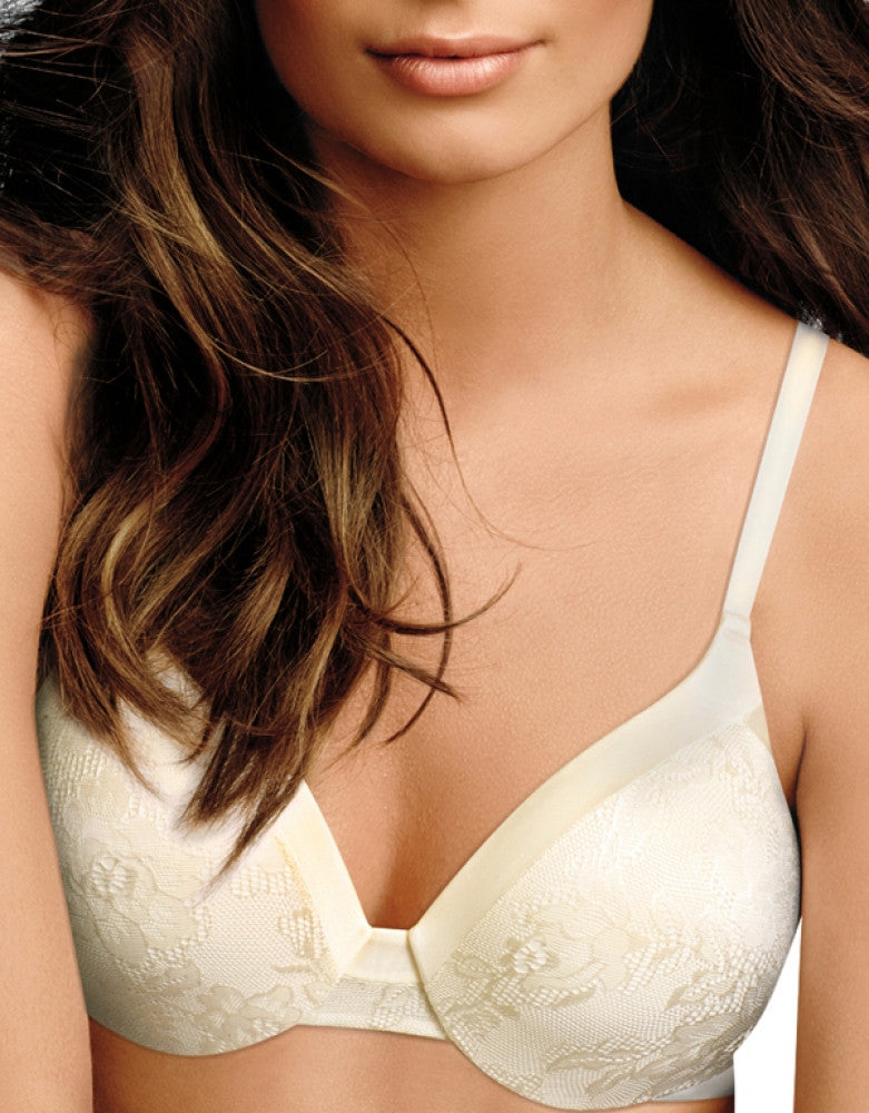Ivory Front Maidenform Comfort Devotion Embellished Extra Coverage T-Shirt Bra 09437