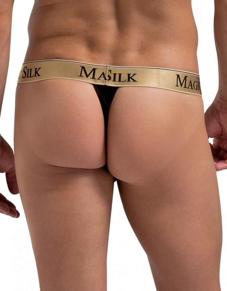 Black Back Magic Silk Silk Knit Micro Thong