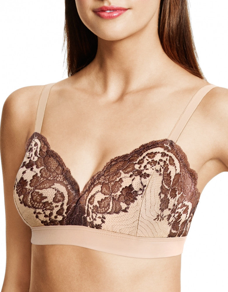 Frappe/Cappuccino Front Wacoal Lace Affair Soft Cup Bralette