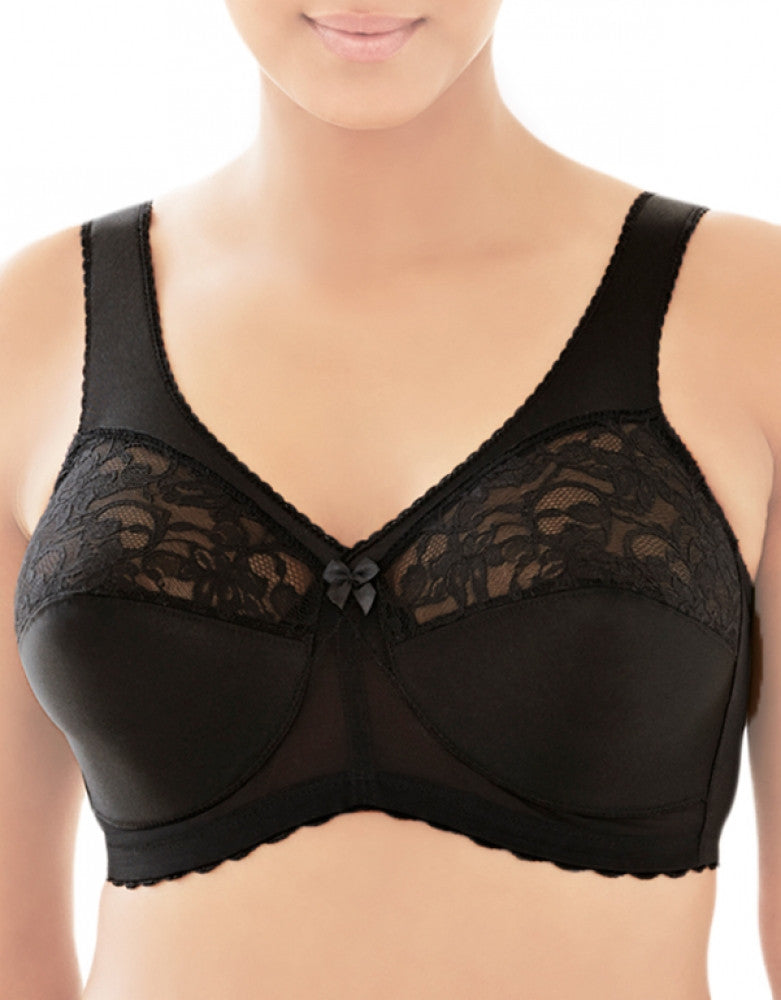 Black Front Glamorise Magic Lift Full Figure Soft Cup Support Bra
