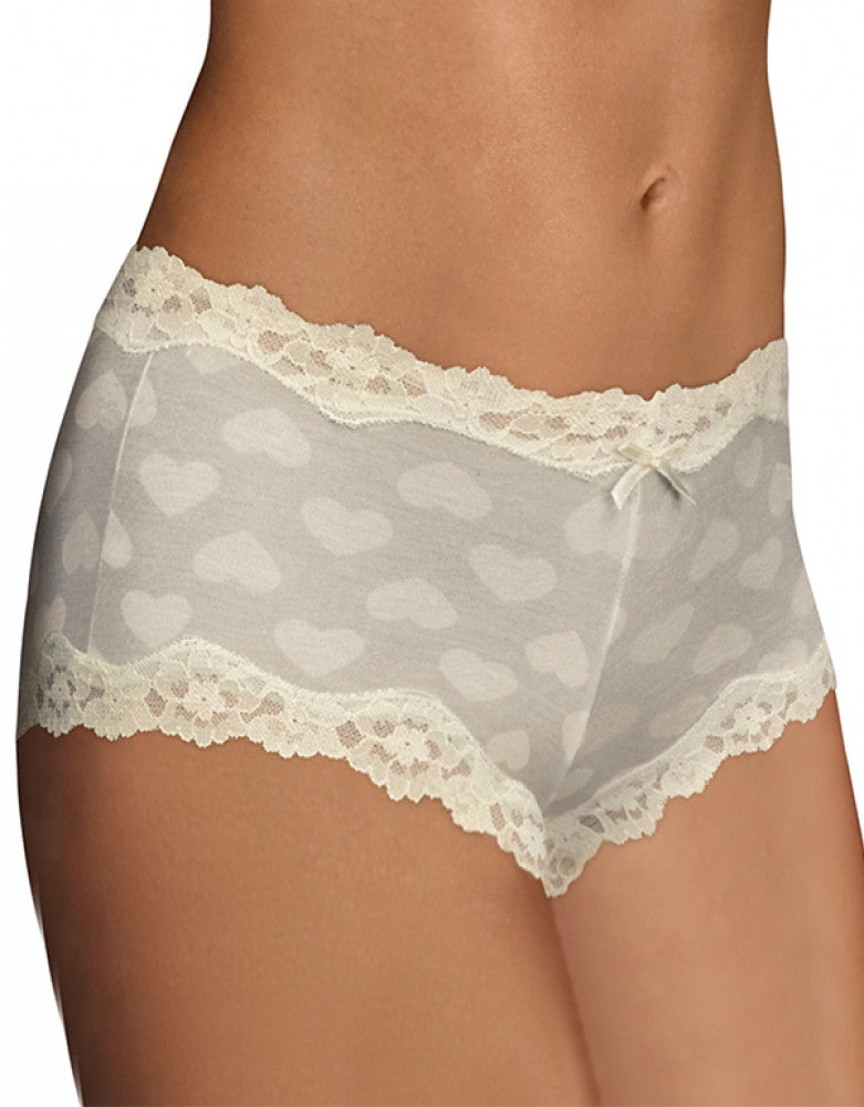Ivory Hearts Front Maidenform Cheeky Scalloped Lace Hipster