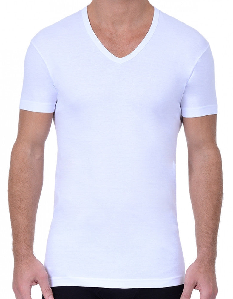 White Front 2xist 3-Pack Essential Slim Fit V-Neck T-Shirt