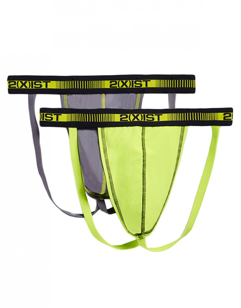 Lead/Lime Punch Front 2xist 2-Pack Performance Micro Jock Straps