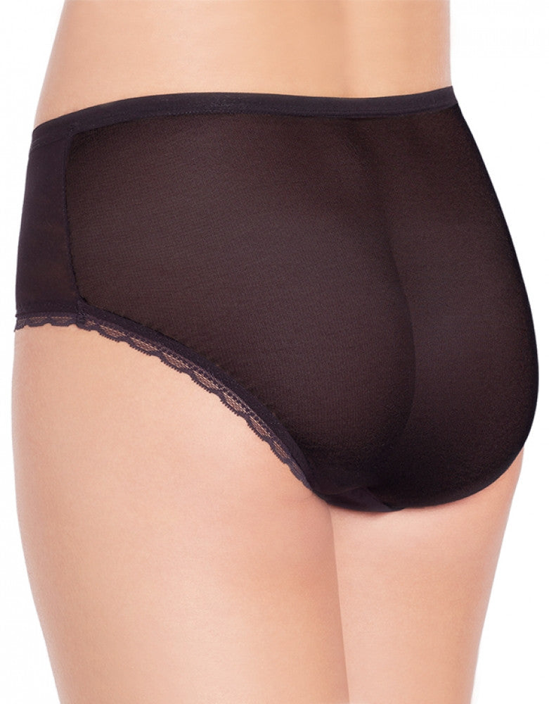 Black Back OnGossamer Scalloped Edge Brief Panty