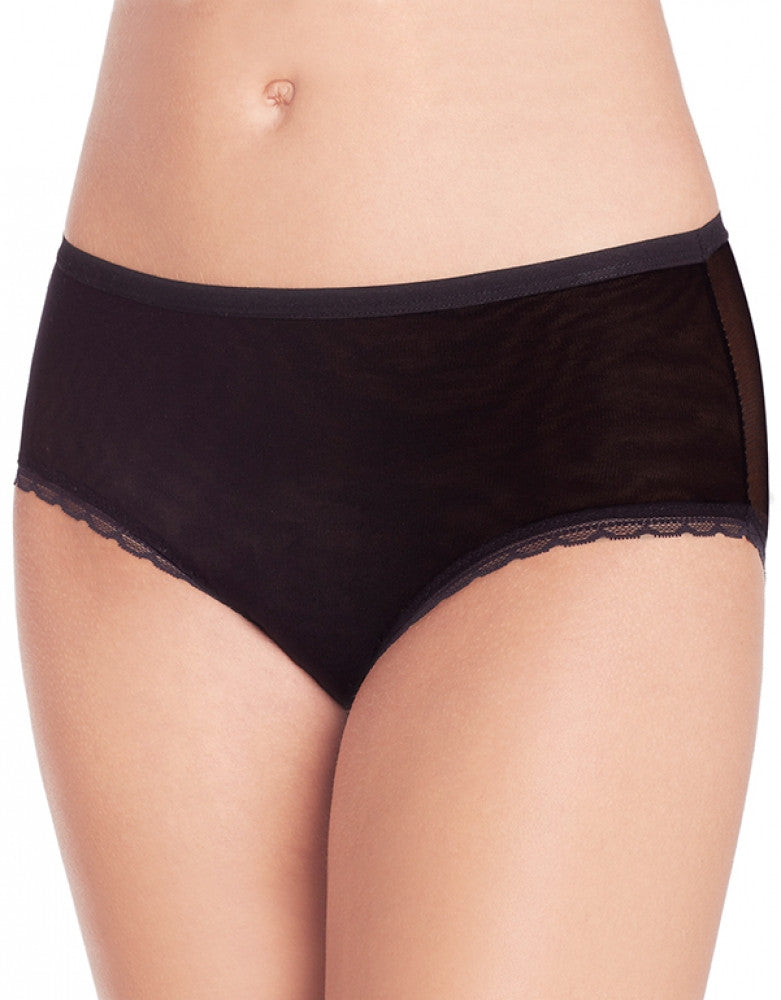 Black Front OnGossamer Scalloped Edge Brief Panty