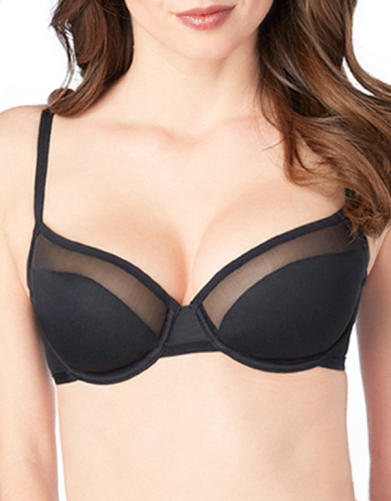 Black Front Le Mystere Shine and Sheer Unlined Demi Bra