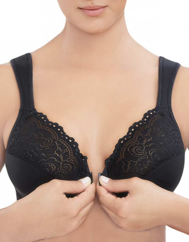 Black Front Glamorise Wonderwire Front Close Underwire Bra Black 1245