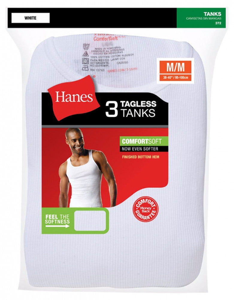 White Front Hanes 3-Pack Athletic Tank Tops