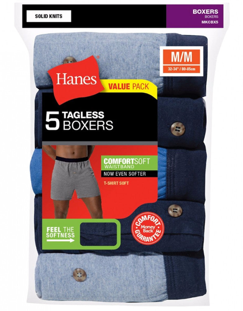 Assorted Front Hanes 5-Pack ComfortSoft Knit Boxer Shorts
