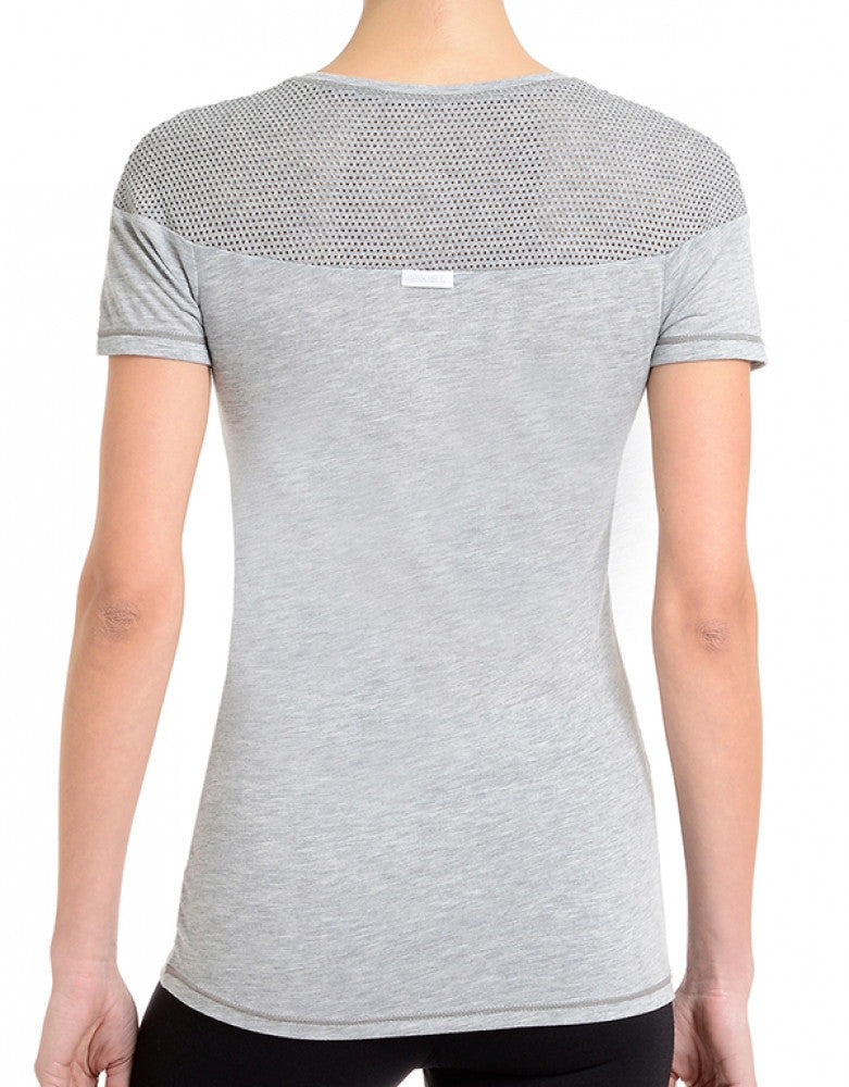 Light Heather Grey Back 2xist Women Athleisure Tissue Jersey Tee with Mesh WA0110