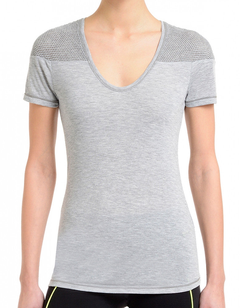 Light Heather Grey Front 2xist Women Athleisure Tissue Jersey Tee with Mesh WA0110