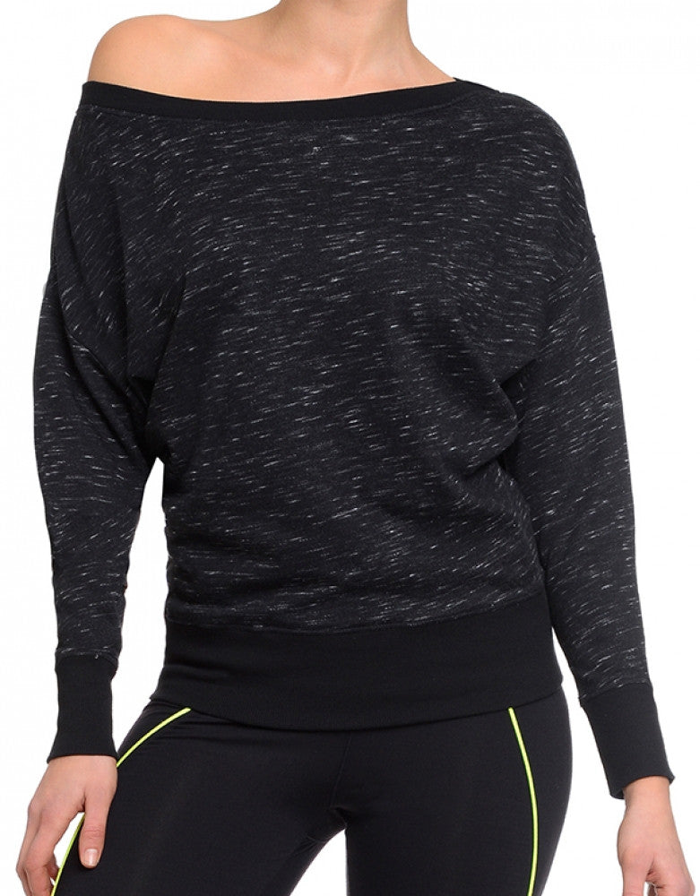 2xist Women Athleisure Drop Shoulder Sweatshirt Black Space Dye XS 603679257753