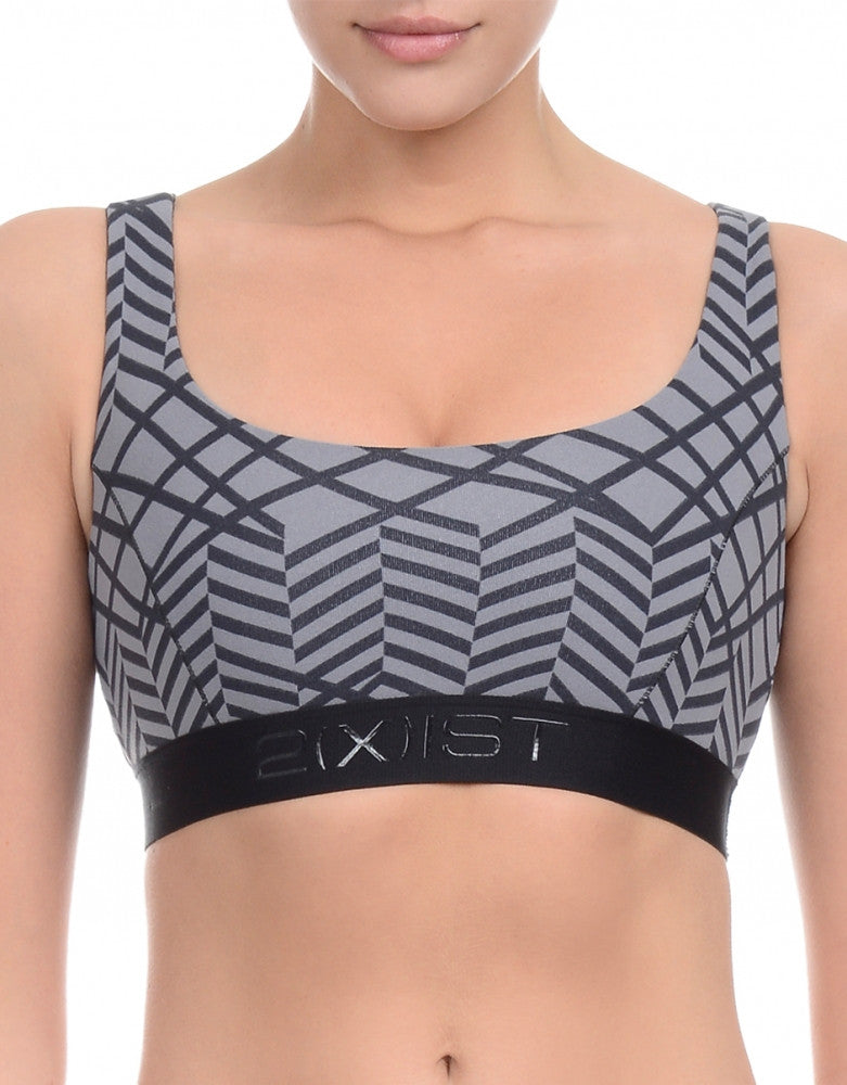 Print Grey Front Athleisure Low Impact Micro Sport Bra