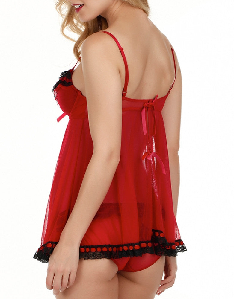 Red Back Jezebel Ruffles Galore Babydoll and Hipster 82154