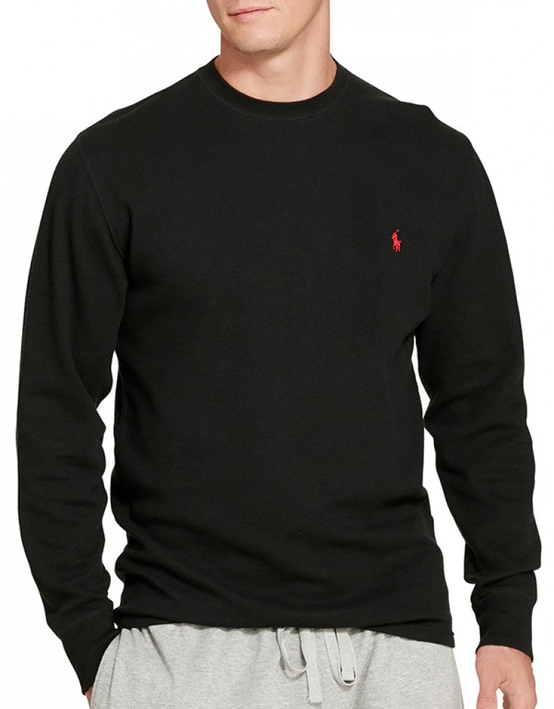 Polo Black Front Polo Ralph Lauren Long Sleeve Cotton Crew Neck Waffle Sleepwear