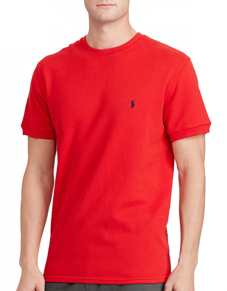 ded57cba9 Red Front Polo Ralph Lauren Waffle Knit Sleepwear Short Sleeve Crew T-shirt