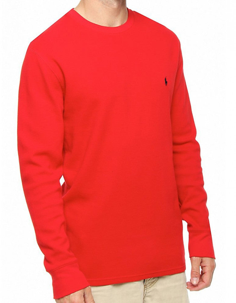 Red Front Polo Ralph Lauren Long Sleeve Cotton Crew Neck Waffle Sleepwear